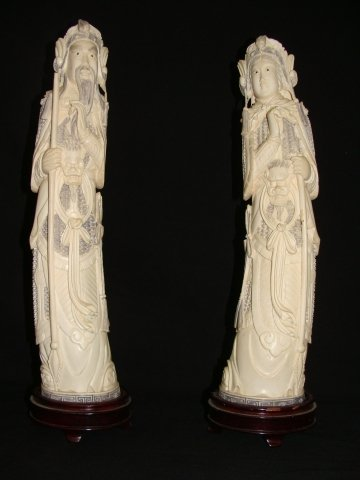 """42: Pair of 14"""" tall carved Ivory Man & Woman Figures S"""