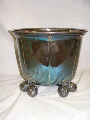 64: Georg Jensen Sterling Fruit Footed  Ice Wine Bucket