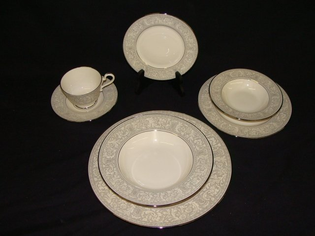 396: Platinum Renaissance Franciscan China 65 Piece Set - 2