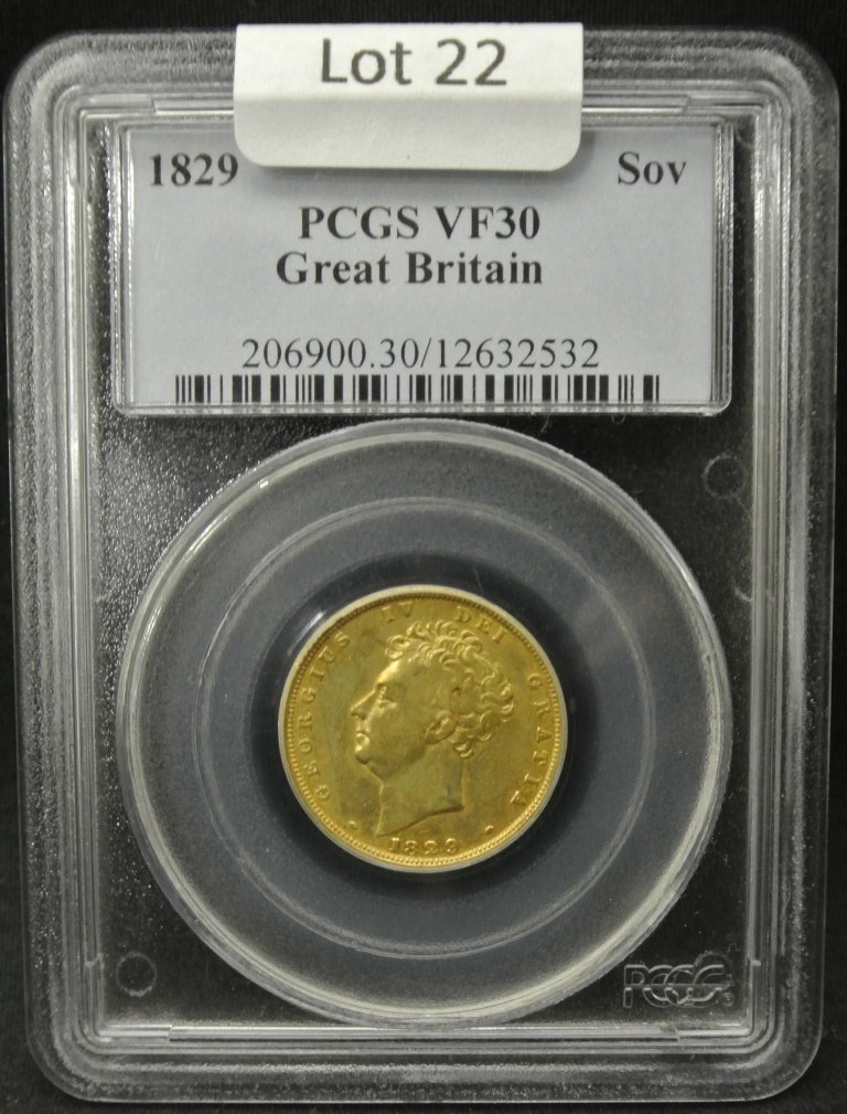 22: 1829 Great Britain Sovereign Gold Coin PCGS VF30