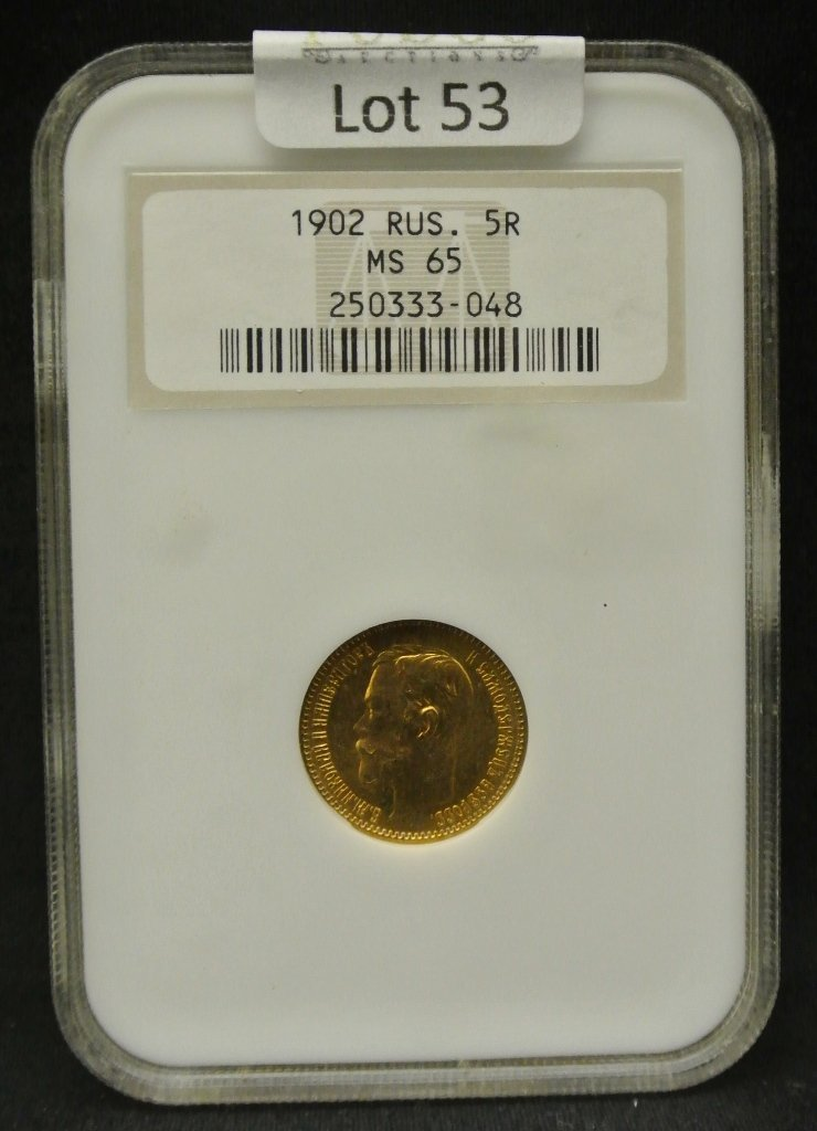 53: 1902 Russian 5 Roubles Gold Coin NGC MS65