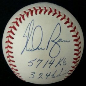 12: Nolan Ryan Single Signed Stat Ball