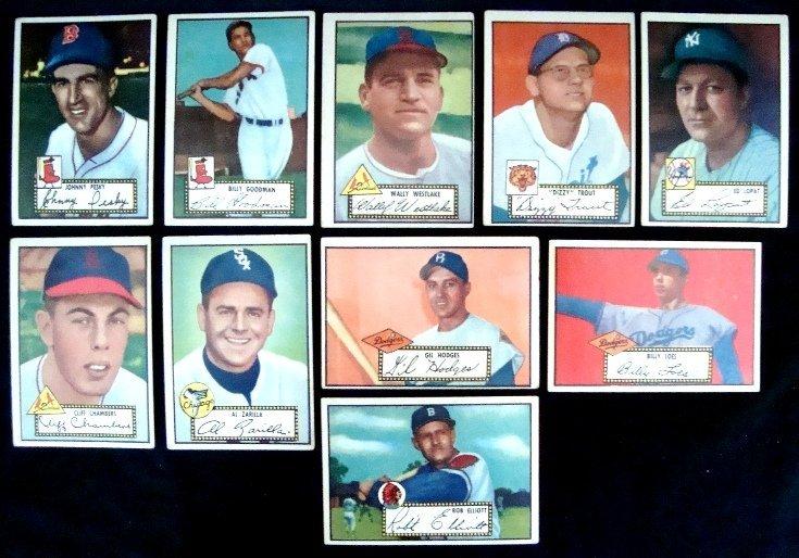 20: 1952 Topps Baseball Card Lot w Stars, Hodges