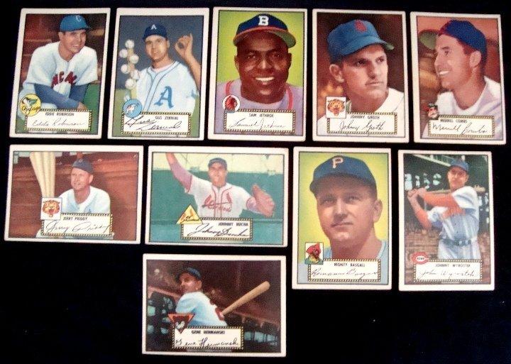21: 1952 Topps Baseball Card Lot w Stars, Zernial