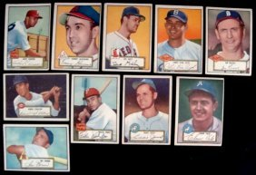 22: 1952 Topps Baseball Card Lot (10 w Valo)
