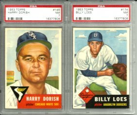 23: 1953 Topps Baseball PSA Graded Cards (2) Loes & Dor