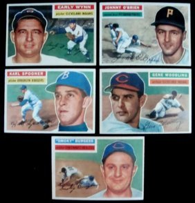 24: 1956 Topps Baseball Card Lot (5) w Wynn
