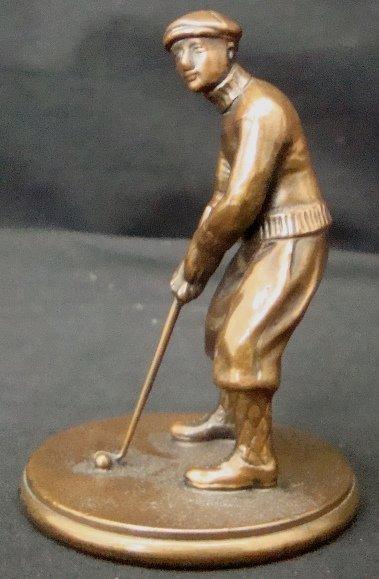 163A: Vintage Bronze Golfer Statue