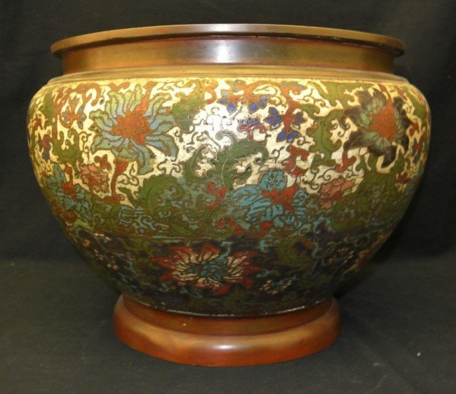 4: 19th c. Cloisonné & Brass Chinese Vase