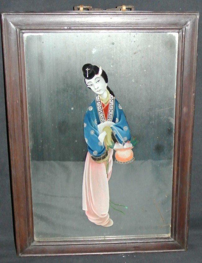 9: Japanese Geisha Reverse Painting on Mirror