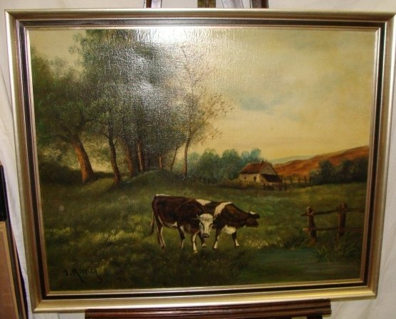 15: Rouvier Oil on Canvas Cows Grazing