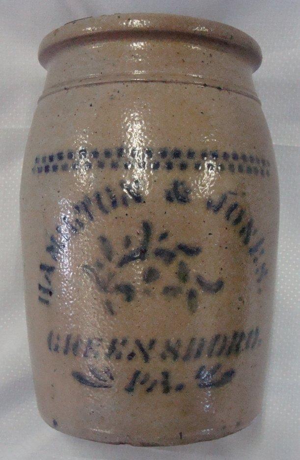 21: Hamilton & Sohns Greensboro Pa Stoneware Crock