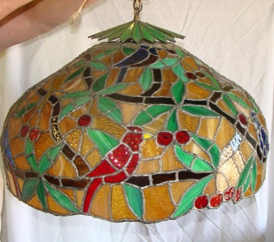 290: Ray Horn Leaf Berry Birds Hanging Lamp