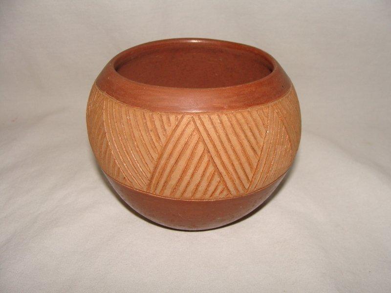 San Juan Incised Redware Pottery Bowl circa 1970's