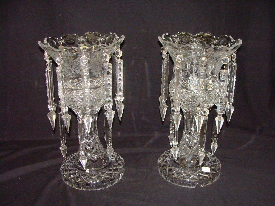 "1: Pair of Cut Crystal Lusters 16 1/2"" Tall Grape & Lea"