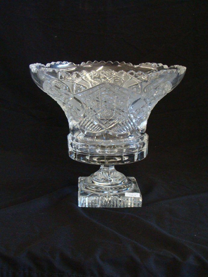 """2: Cut GLASS abp 9 1/2"""" tall, 10 1/2"""" wide vase"""