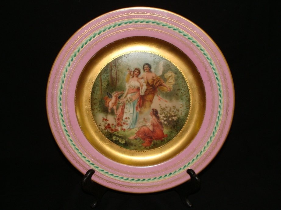4: Hand Painted Artist Signed Gold Flower Harvest Plate