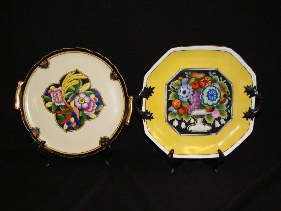 11: Pair of art deco noritake cake plates