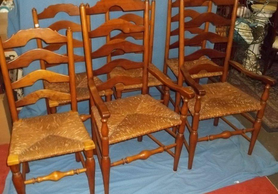 45: Six Stickley Rush Bottom Ladder Back Chairs
