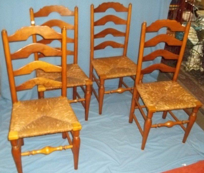45: Six Stickley Rush Bottom Ladder Back Chairs - 2