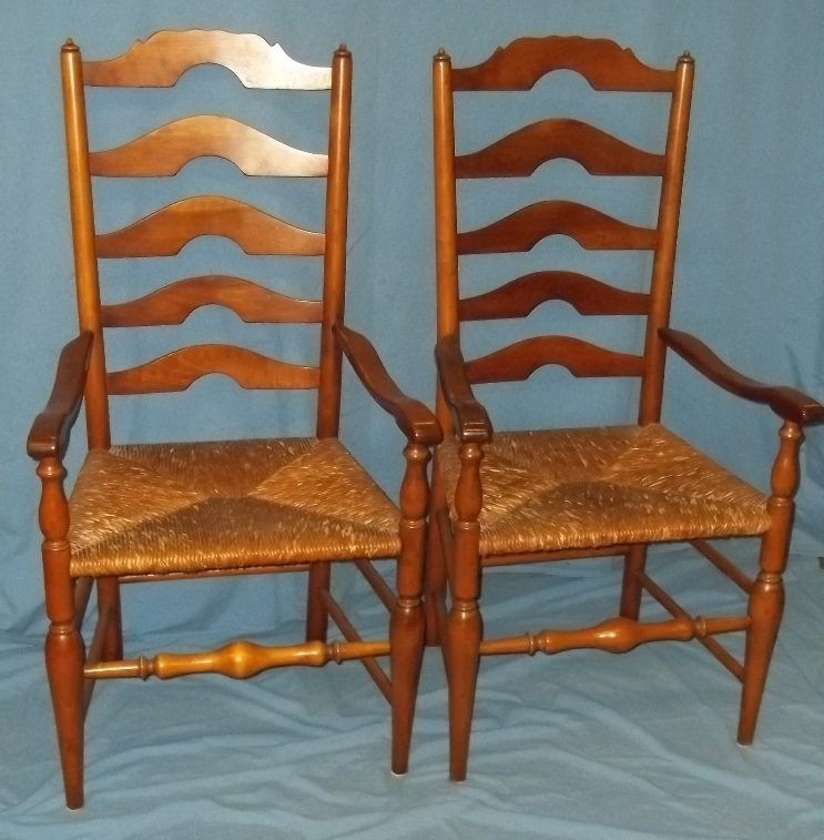 45: Six Stickley Rush Bottom Ladder Back Chairs - 7