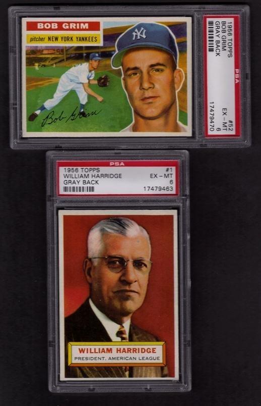 8: Lot of (2) 1956 Topps PSA Graded Gray Back Baseball