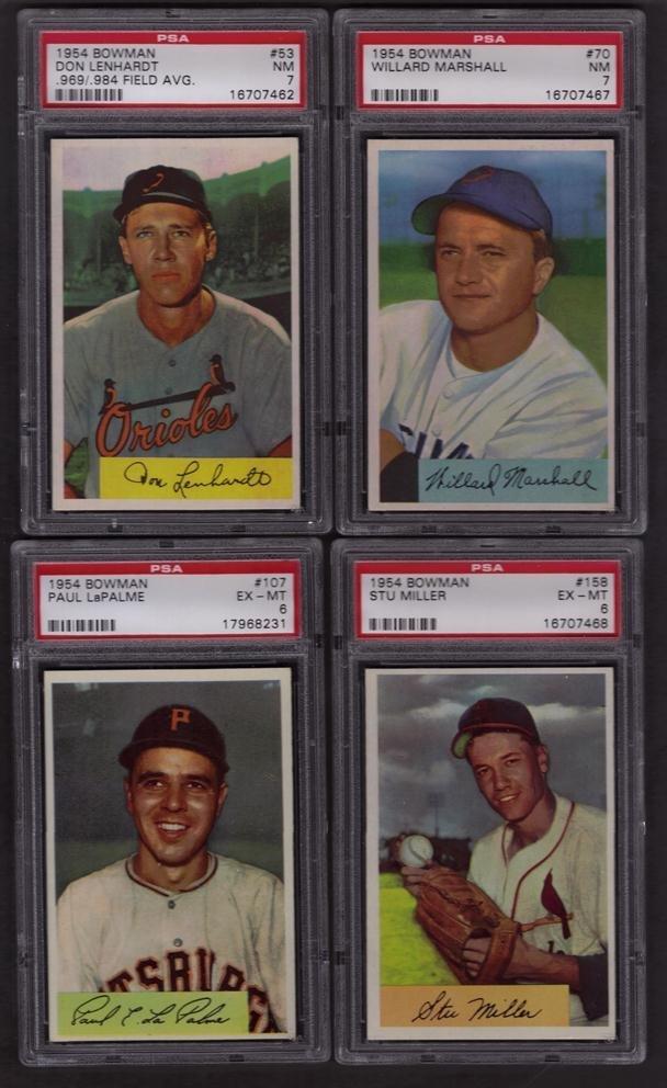13: Lot of (4) 1954 Bowman PSA Graded Baseball Cards w