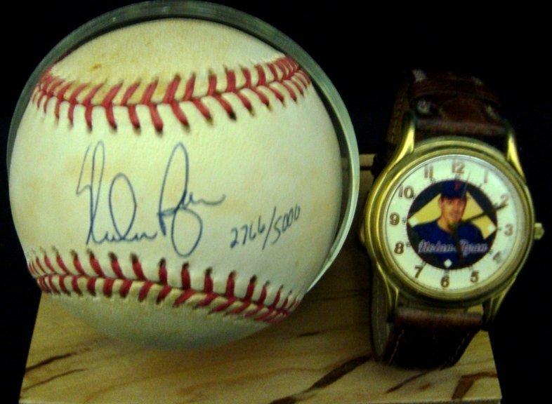 18: Nolan Ryan Single Signed Baseball & Wrist Watch Dis