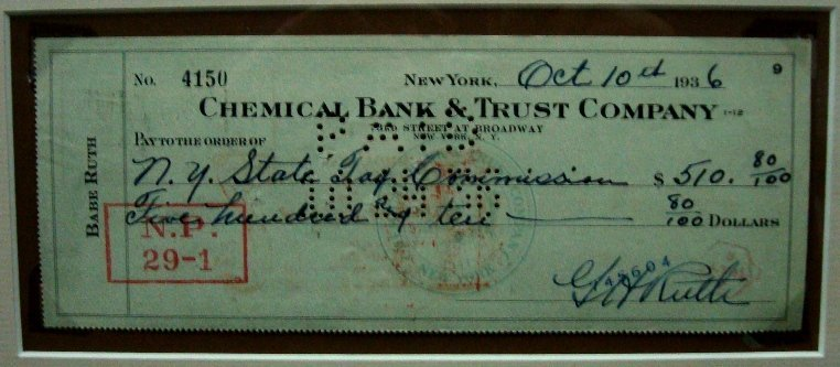 268: 1936 Babe Ruth Signed Personal Check