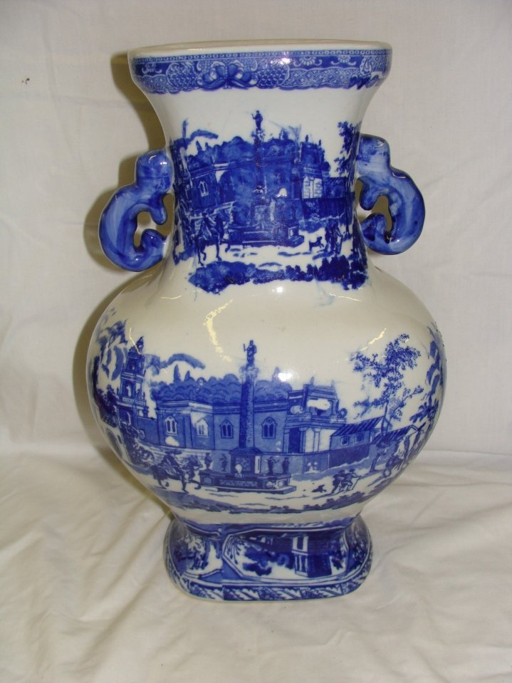 """Victoria Ware Ironstone Flow Blue 15"""" Tall Handled Vase"""