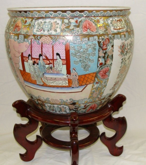 Large Enamel on Porcelain Japanese Fish Bowl Floor Vase