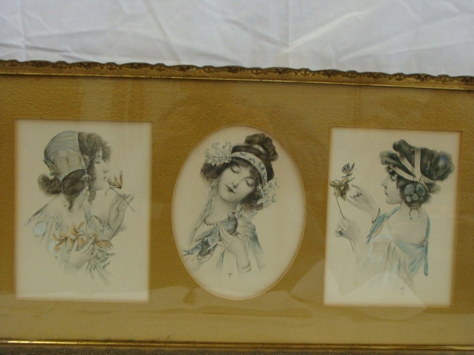 Signed Hand Colored 3 Victorian Women Etching