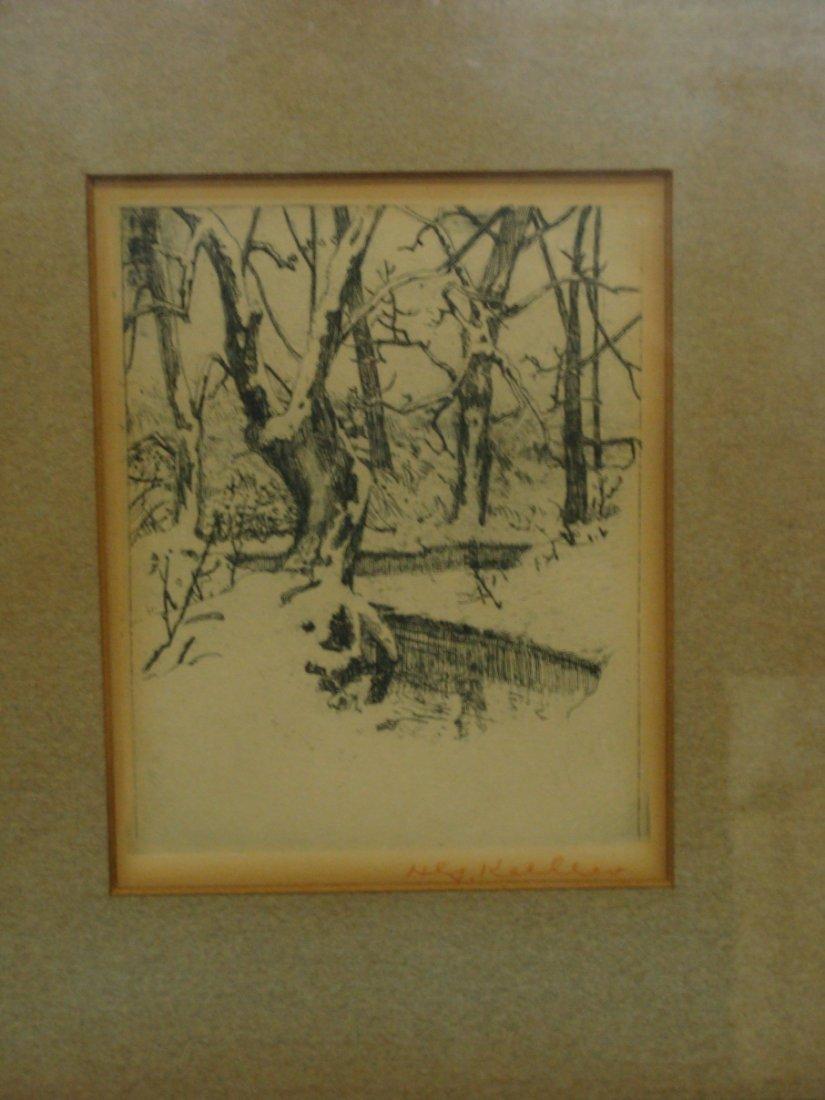 Signed Henry Keller Etching Winter Landscape