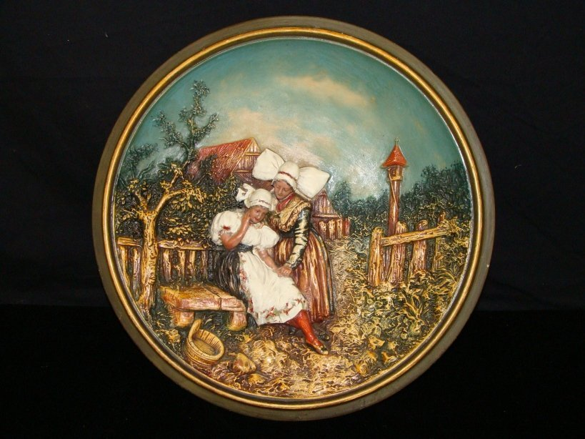 BASE RELIEF HAND PAINTED DUTCH CHARGER PLATE