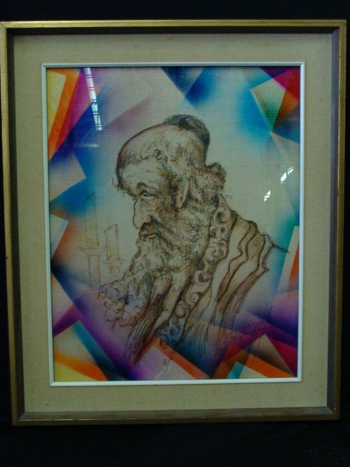 Signed Original Louis Spiegel Rabbi Mixed Media Framed