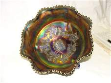 Blue Butterfly  Berry Master Bowl 9 Carnival Glass