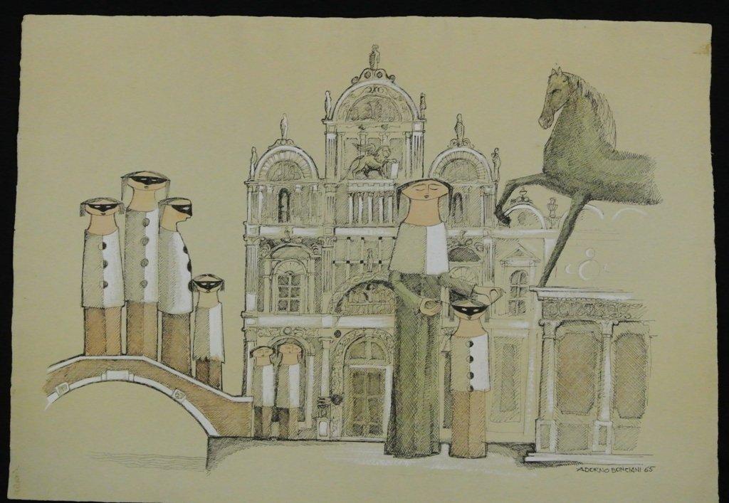 Aodorno Bonciani, Italian 1920- Pen Ink Gouache on Pape