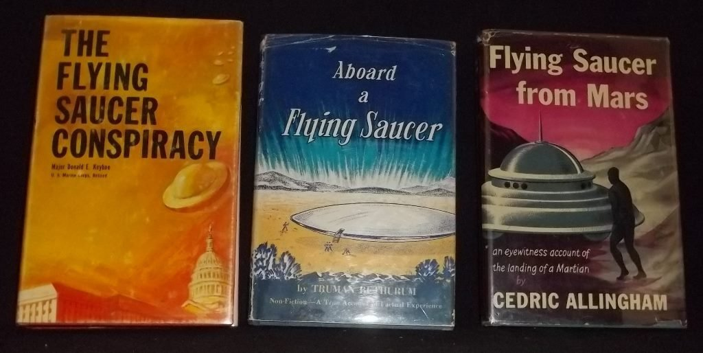 3 Hardbound books in dust jackets about Flying Saucers