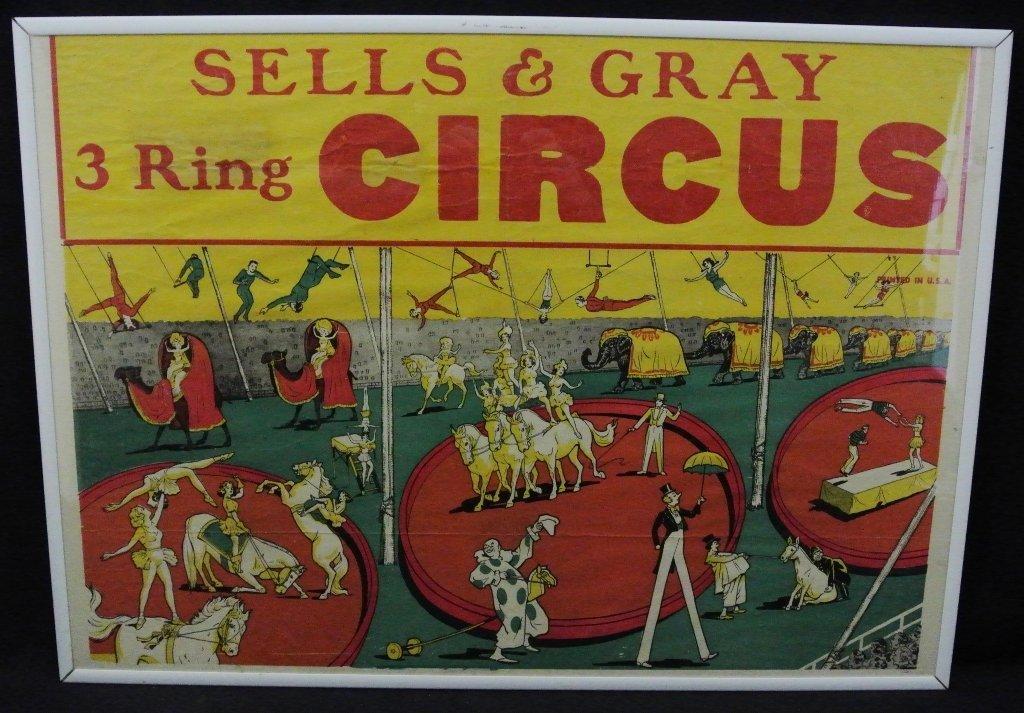 Sells & Grey 3 Ring Circus Poster