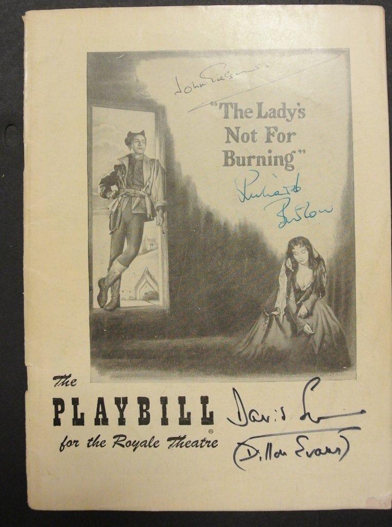 Richard Burton & Others Signed 1950 Playbill