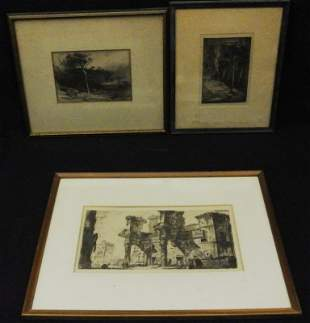 (3)19th c. Etchings on Paper w/James Daivd Smillie
