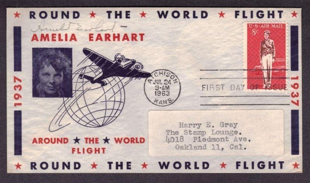 Amelia Earhart Autographed 1937 Flight Cover