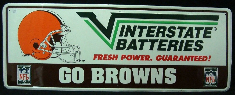 1980's Interstate Batteries Cleveland Browns Sign