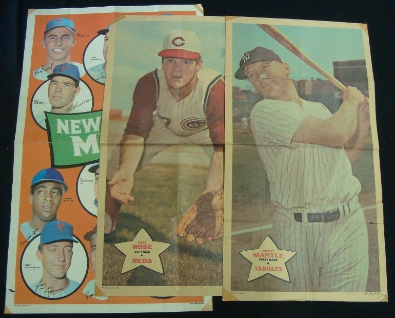 1968-69 Topps Poster Lot (3 w Mantle)