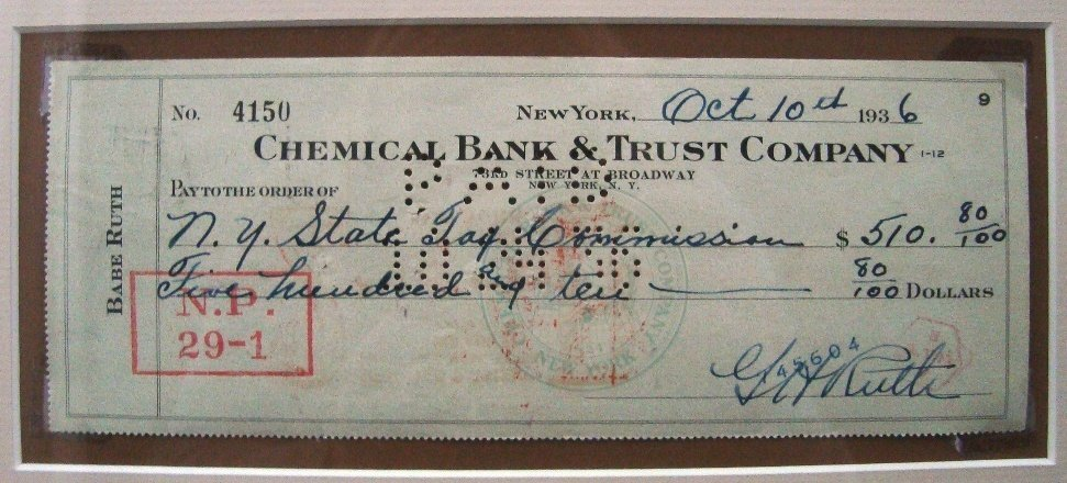 1936 Babe Ruth Signed Personal Check