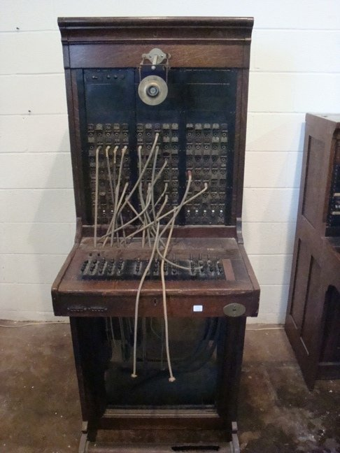 Vintage Switchboard Desk With Kellogg Mouthpiece