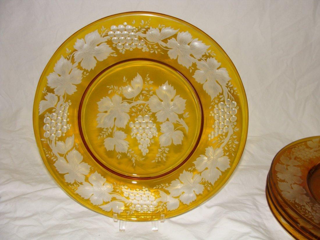 4 Bohemian Glass Grape Cut to Clear Plates