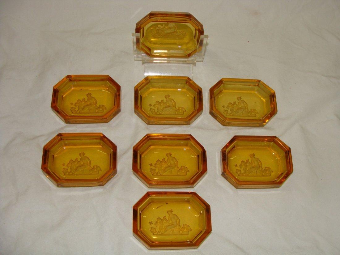 8 Hoffmann Intaglio Glass Open Salts Pin Trays