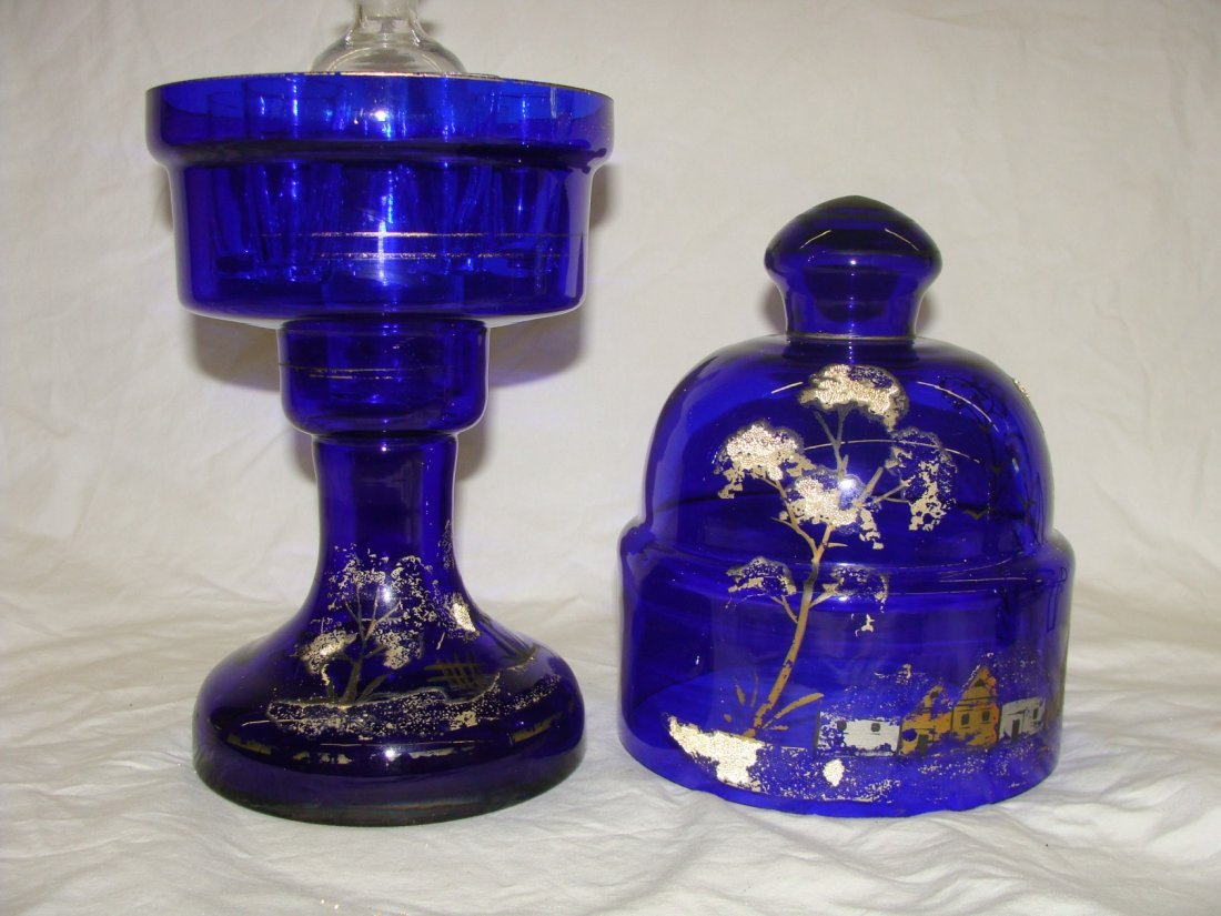Hand Painted Cordial Caddy Czech Glass w Domed Lid