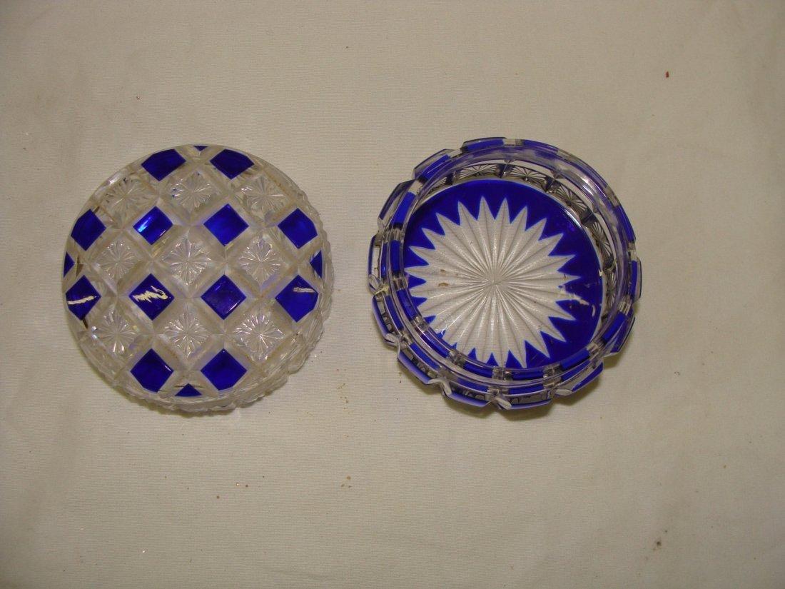 Cobalt Blue Cut to Clear Art Glass Covered Trinket Box